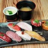 お昼の肉寿司盛合わせ(8貫)