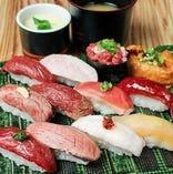 お昼の肉寿司盛合わせ(12貫)