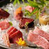 肉本来の旨味を存分にご堪能いただける本日の生肉盛り合わせ五種盛り。