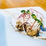 牡蠣と白葱のオイル串