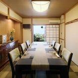 【4~8名様まで】テーブル席/坪庭を望む心落ち着く和の個室