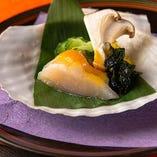 【酢の物】帆立貝と野菜の酢味噌掛け