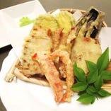 国産穴子と夏野菜の天ぷら盛り