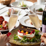 ミニホールケーキと乾杯スパークリングワイン付