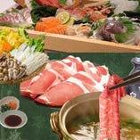厳選豚肉のしゃぶしゃぶ食べ放題は、一品料理・野菜バイキング・ご飯・デザート付きで、2,080円(税抜)