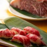 鮮度の良い肉を仕入れる当店だからこそ絶品「肉寿司」が食べられる♪