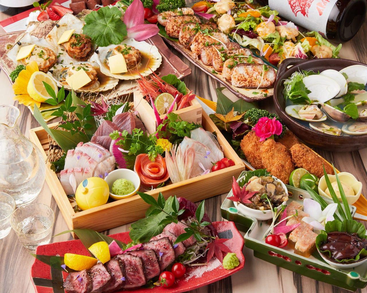 【つばきコース】新鮮魚介と和牛イチボのワンランク上のコース[全9品] 2時間飲み放題付き6000円⇒5000円