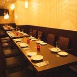貸切の場合、パーティー仕様にお席を一列に並べることもできます