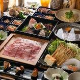伊勢海老、神戸牛、鮑などの高級食材をふんだんに使用したコース
