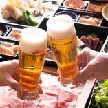 ご宴会に一杯目はビールで乾杯!