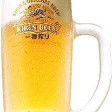 まずは生ビールで乾杯!!