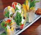 島野菜だらけのサクサク味噌生春巻き
