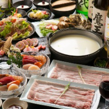 【2時間飲み放題付】黒豚しゃぶしゃぶと市場直送鮮魚が楽しめる『Yabure』(やぶれ)コース〈全8品〉