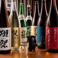種類豊富な地酒の日本酒・焼酎も揃えております