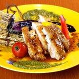 肥後赤鶏のグリル バジルソース