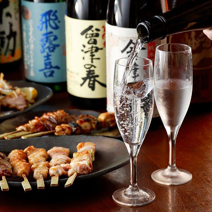 プレミアム酒含む♪会津・上田地酒を中心に常時約15種をご用意!