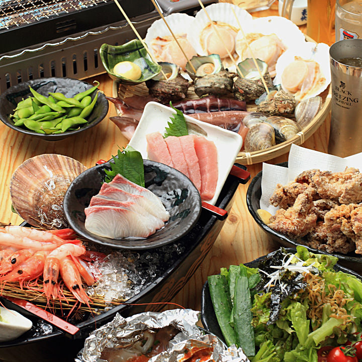 新鮮魚介で浜焼きパーティー!