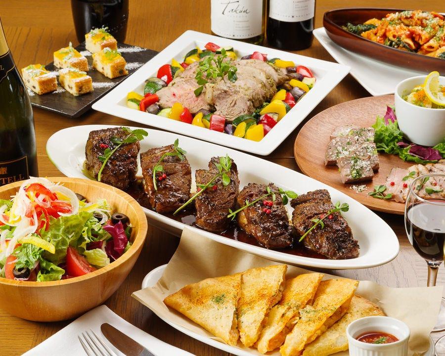 【11・12月限定プレミアムプラン】前菜~デザートまで全10品!メインは三元豚ローストと牛フィレのグリル!