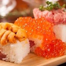 名物!ウニとイクラ、マグロのこぼれ寿司