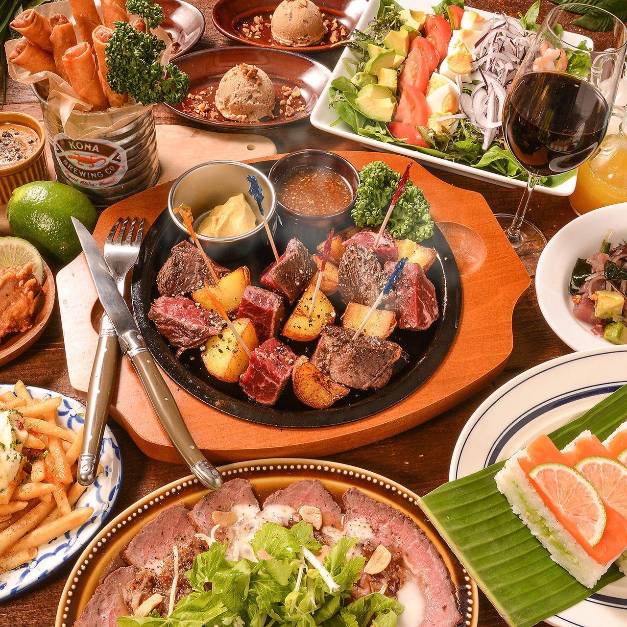 【お料理のみ】お食事メインのアロハテーブルコース  2,970円(税込)