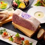 海鮮の鉄板焼きもオプションで、お肉の部位もお選びいただけます