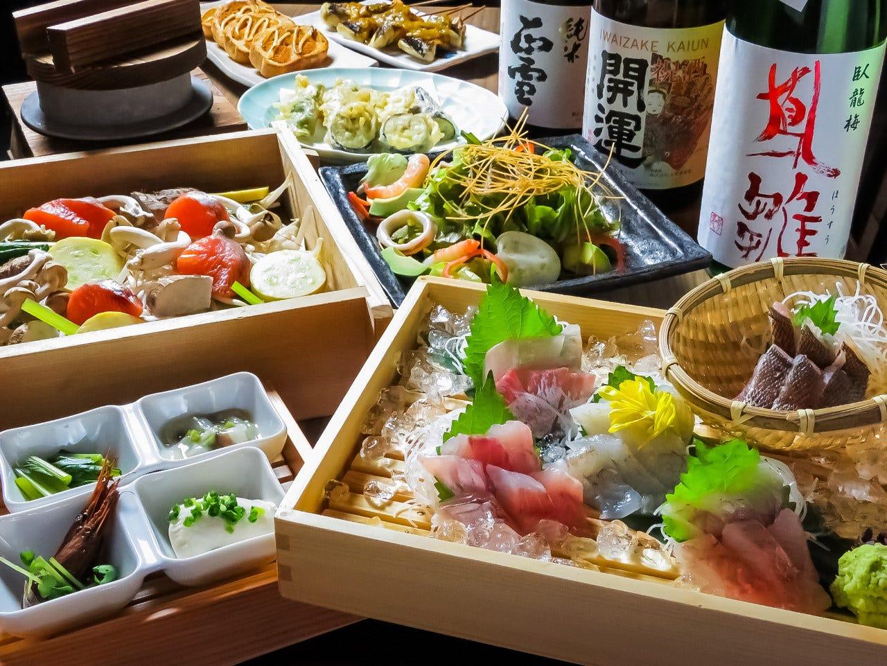 刺身に天ぷら、釜飯も!いろいろ楽しめるミウミの一押しコース