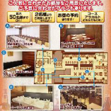 【店内座席イメージ図】220名様の座席イメージ図。詳細はお問合せ下さいませ。