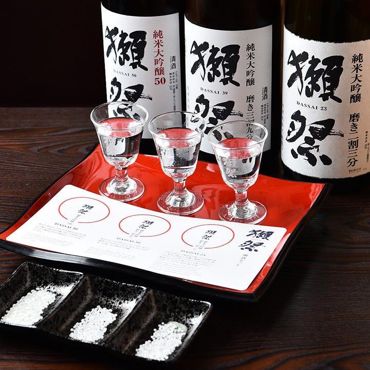 店内には『獺祭』のために磨いた山田錦の米粒見本も飾っています