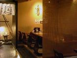 簾で仕切られ個室感覚・和の空間 掘りごたつ席でゆったり20名様