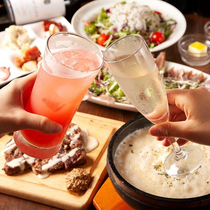 たくさんのお料理を少量ずつ楽しめる女子会コースは必見♪