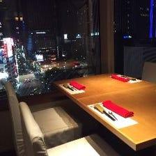 銀座の夜景を楽しみながらのお食事に