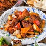 【コース】豚肉と彩野菜の甘酢掛け