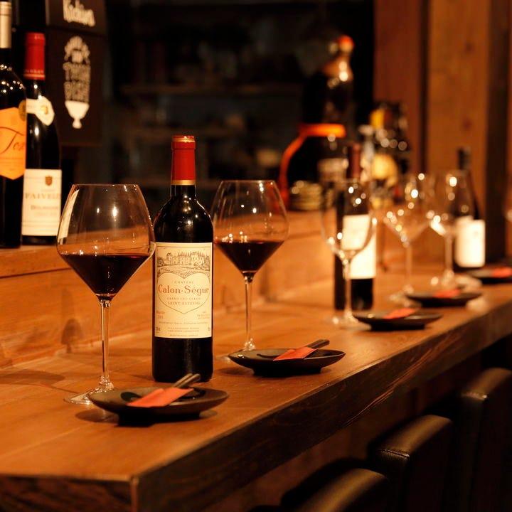 カウンターでワイン×鉄板焼きが人気です☆