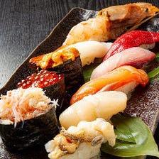 道産縛りの寿司10カン盛