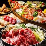 豪華舟盛り刺身+お肉の鍋コースもあります☆