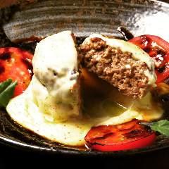 自家製『つくねバーグ』野菜出汁ソース・西京味噌チーズ・デミグラスソース