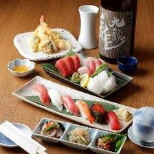 ◆人気の日本酒や焼酎も心ゆくまで満喫する2時間飲み放題付『寿司コースプラン(飲み放題B)』[全6品]