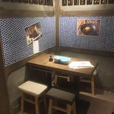 店内奥の独立テーブル席
