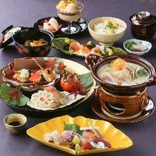 【高砂懐石】先付、お造り、海や山の幸を盛り込んだ八寸、伝助穴子柳川鍋と旬の味覚でおもてなし