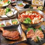 いわい鶏一本焼きや知覧鶏の刺し盛りが食べられる5000円コース!