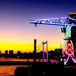東京湾を眺めるビアガーデンで!