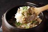 のど黒と海鮮土鍋御飯(味噌汁・香の物付)