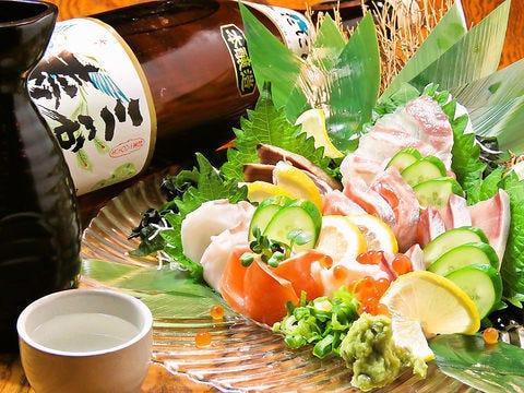 【3時間】豪華5種刺し盛り+3時間食べ飲み放題♪4000円(税抜)