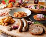 自家製ソーセージ、地元野菜、パスタなどボリューム満点のコース
