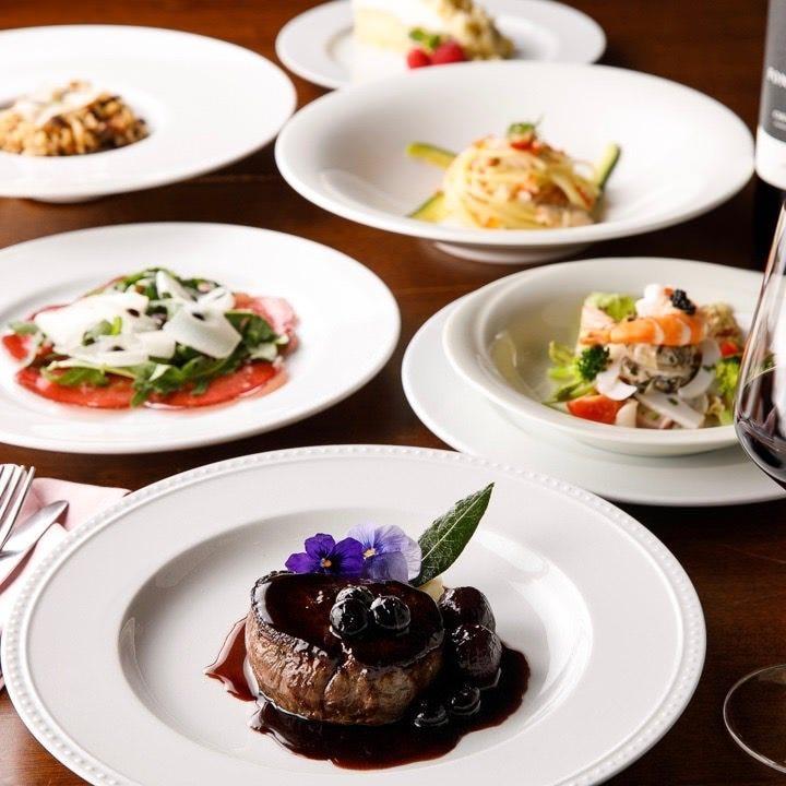 パスタ2種に海鮮、カルネなど、トスカーナ料理をコースでご堪能