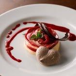 2019年のバレンタイン限定コースのドルチェには、アイスクリームとケーキの中間のようなスイーツ「セミフレット」をご提供
