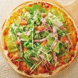 鴨ロースとレタスのサラダピザ
