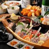 産地直送魚介の刺盛を中心としたおまかせ海鮮コースは4,000円~