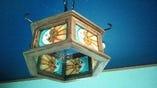 メキシコから持ち帰った、可愛くユーモラスな小物が沢山。 これはランプシェードです。