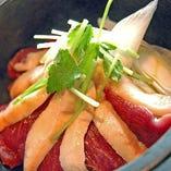 鴨肉と白葱の生姜醤油